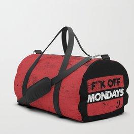 F**k Off Mondays! Red Grunge Duffle Bag