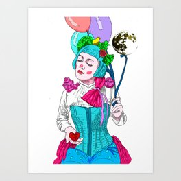 The moon, The Lady with a broken heart Art Print