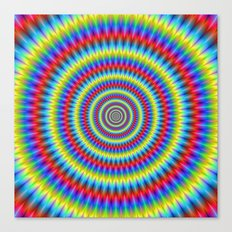 Blue Red Yellow and Green Toothed Rings Canvas Print