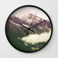 the mountains are calling Wall Clocks featuring The Mountains Are Calling by Noonday Design