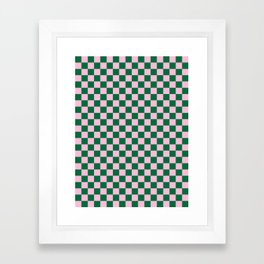 Cotton Candy Pink and Cadmium Green Checkerboard Framed Art Print