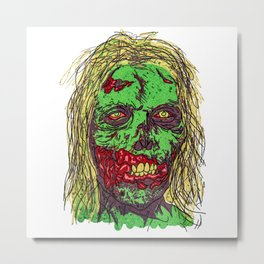 Zombie. Green, sweet and dead! Metal Print
