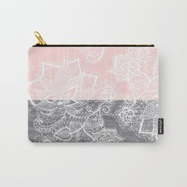 Elegant floral lace gray wood pastel pink block  Carry-All Pouch