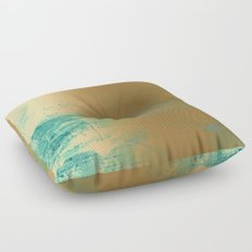 457 13 Teal and Gold Floor Pillow