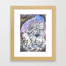Winged Jackalope in Winter Plumage Framed Art Print
