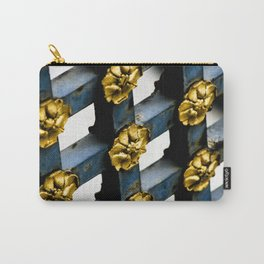 Blue and Gold Parisian Metal Gate Decorative Flower Photograph Carry-All Pouch