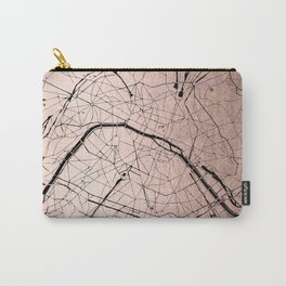Paris France Minimal Street Map - Rose Gold Glitter on Black Carry-All Pouch