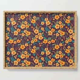 Floral pattern. Buttercups yellow. Violet background. Serving Tray