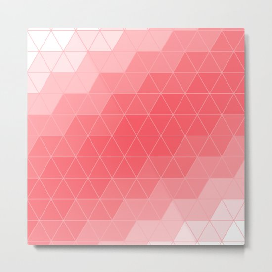Coral Red Triangles Metal Print