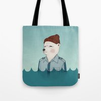 the life aquatic Tote Bags featuring Bill Murray - Life Aquatic by Drivis
