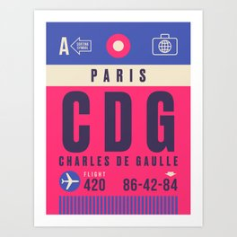 Retro Airline Luggage Tag - CDG Paris Charles de Gaulle Art Print