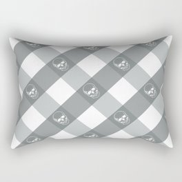 SKULL PLAID, GREY Rectangular Pillow
