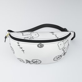 chicken on a bike pattern Fanny Pack