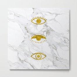 Golden Eyes on Marble Metal Print