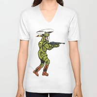 spaceship V-neck T-shirts featuring SPACESHIP TROOPER by Noughton