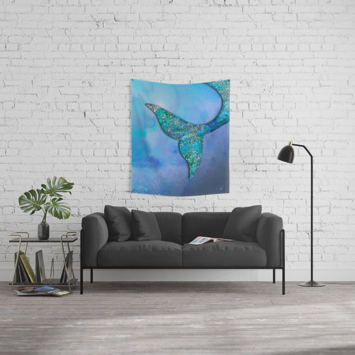 Sparkly Mermaid Tail Fin Wall Tapestry