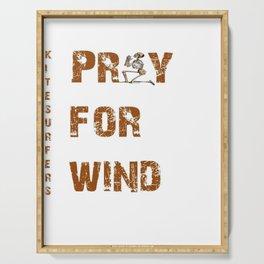 Kitesurfers Pray for Wind Serving Tray