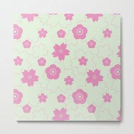 Sakura blossom - spring green Metal Print