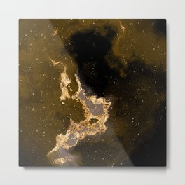 100 Starry Nebulas in Space Black and Gold 018 (Square) Metal Print