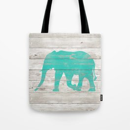 Turquoise Elephant on White Wood A222b Tote Bag