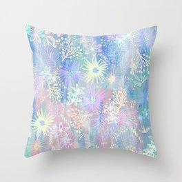 Eden Floral Pastel Blue Throw Pillow