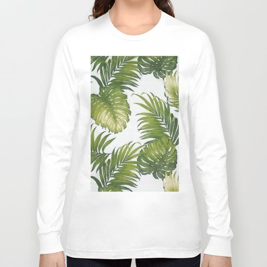 Monstera and palm leaves Long Sleeve T-shirt
