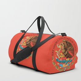 Mexican Flag seal on orange red background Duffle Bag