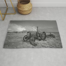 Rustic Tractor - Old Tractor in Black and White Rug