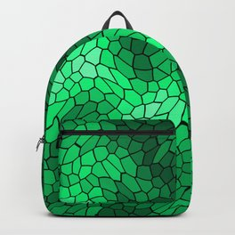 Stained glass texture of snake green leather with bright heat spots. Backpack