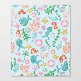 Mermaids and sea creatures Canvas Print