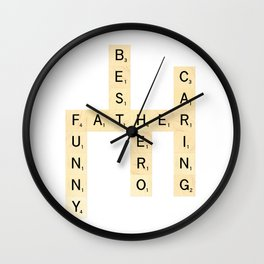 FATHER-FUNNY-BEST-HERO-CARING - Custom Scrabble Art and Accessories for Father's Day Wall Clock