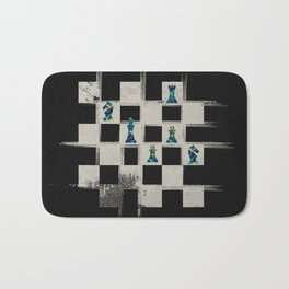Chessboard and Marble Chess Pieces composition Bath Mat