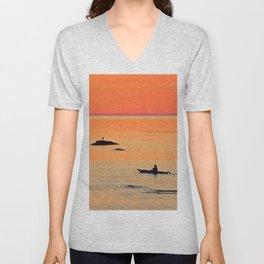 Kayak and Birds under Orange Skies Unisex V-Neck