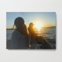 Fishing with gramps Metal Print