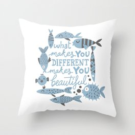 All kinds of fishes Throw Pillow