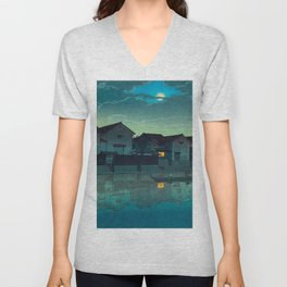 Kawase Hasui Vintage Japanese Woodblock Print Japanese Village Under Moonlight Cloudy Sky Unisex V-Neck