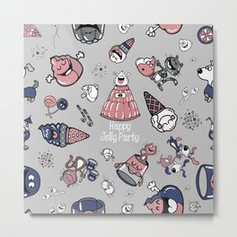 Jelly Party (Grey) Metal Print