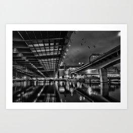 Boston view  under Zakim bridge from North Point Park Art Print