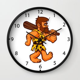 funny caveman Wall Clock