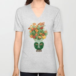 Marigolds in cat face vase  Unisex V-Neck