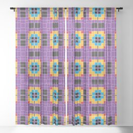 Pixels Plaid Fabric Pattern Sheer Curtain