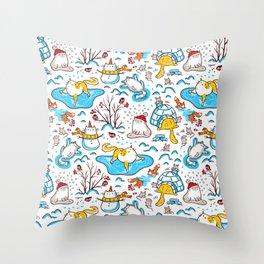Winter Cats Throw Pillow
