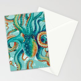 Teal Octopus On Light Teal Vintage Map Stationery Cards