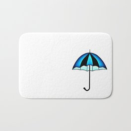 Bright Blue Black Rain Umbrella Illustration Bath Mat