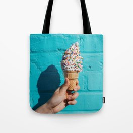 Holding a colorful ice cream Tote Bag