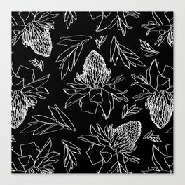 Tropical Ginger Plants in Black + White Canvas Print