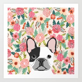 French Bulldog  floral dog head cute frenchies must have pure breed dog gifts Art Print