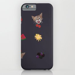 Cute Cats and Fruity Pattern iPhone Case