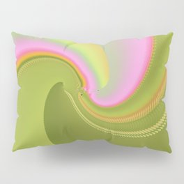 Pink and Green Curves Fractal Abstract Art Pillow Sham