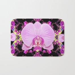 Purple Orchids Pattern Fantasy Yellow Black Art Pattern Bath Mat